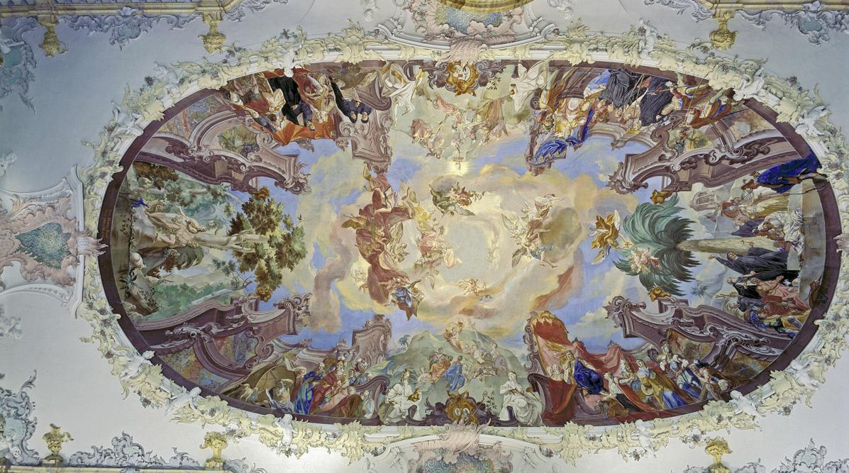 Deckenfresko im Bibliothekssaal, Franz Martin Kuen, 1744; Foto: Landesmedienzentrum Baden-Württemberg, Steffen Hauswirth