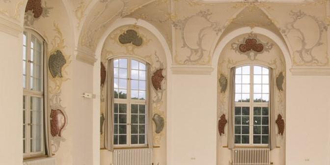 Fenster im Kapitelsaal, Kloster Wiblingen; Foto: Staatliche Schlösser und Gärten Baden-Württemberg, Arnim Weischer