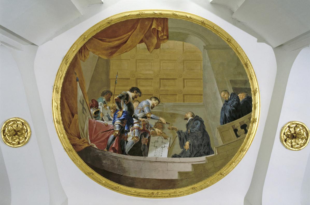 """Deckenfresko """"Die Klosterstifter"""" in der Vorhalle der Klosterkirche, Januarius Zick, 1781"""