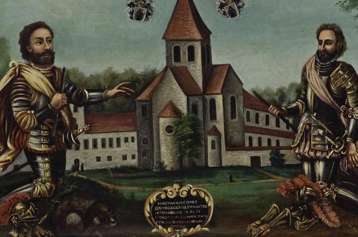 Klosteranlage mit Stiftern, Gemälde aus dem späten 18. Jahrhundert; Foto: Staatliche Schlösser und Gärten Baden-Württemberg, Arnim Weischer