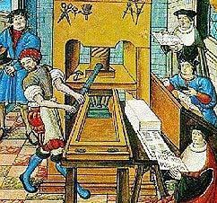 Darstellung des Buchdrucks im 15. Jahrhundert; Foto: Wikipedia, gemeinfrei