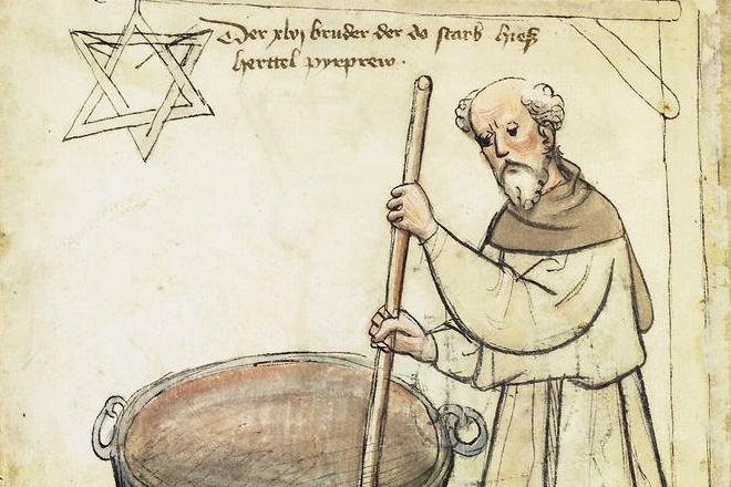 Älteste Darstellung eines Bierbrauers in Deutschland, Mönch mit sechszackigem Brauerstern, aus dem Hausbuch der Mendelschen Zwölfbrüderstiftung von 1425; Foto: Wikipedia gemeinfrei