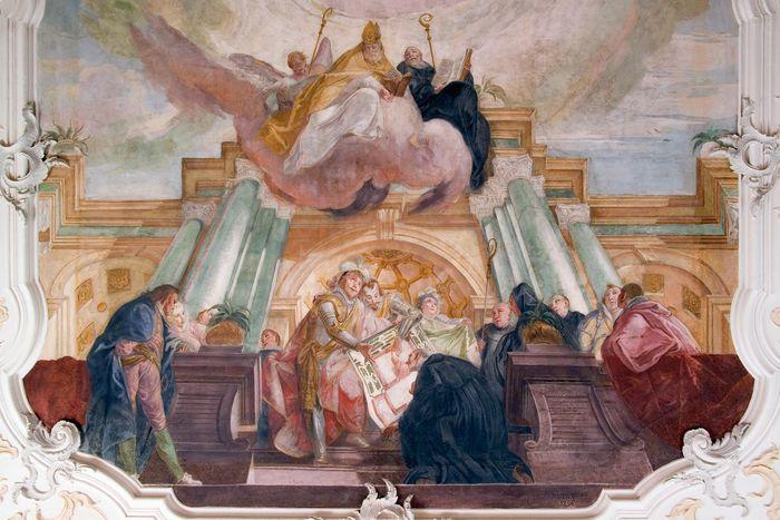 Detail aus dem Deckenfresko im Kapitelsaal von Franz Martin Kuen, 1754