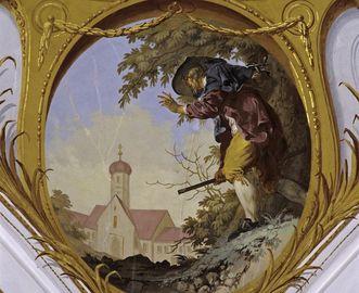 Zwickelbild am Deckenfresko im Mönchschor der Basilika, 1780
