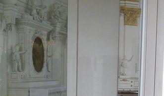 Glastür zur Empore der Wiblinger Klosterkirche