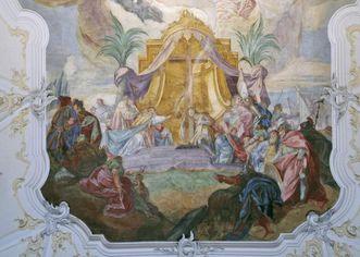 Kreuzübergabe und Klosterstiftung, Deckenfresko von Franz Martin Kuen, 1754