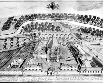 Tuschezeichnung der Klosteranlage im Zustand von 1805, Michael Braig, 1813