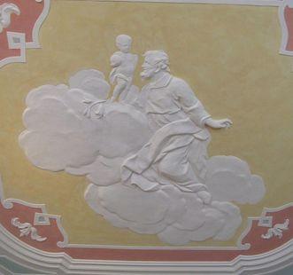 Josef und das Jesuskind, Teil eines Deckenfreskos in den Gästeappartements