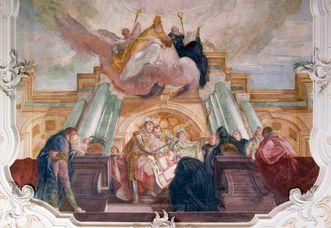 Darstellung der Klosterstiftung im Deckenfresko des Kapitelsaals von Kloster Wiblingen