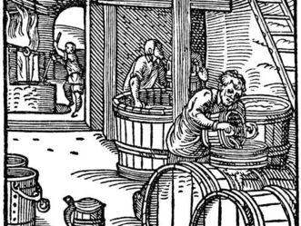 """Holzschnitt """"Der Bierbreuwer"""" aus Jost Ammans Ständebuch aus dem Jahre 1568; Foto: Wikipedia gemeinfrei"""