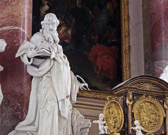 Evangelist Markus, Hochaltarfigur in der Klosterkirche, Johann Georg Schnegg, 1781
