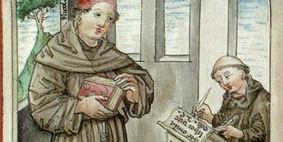 Nikolaus de Lyra diktiert seinem Schreiber, Wiblingen, 1454