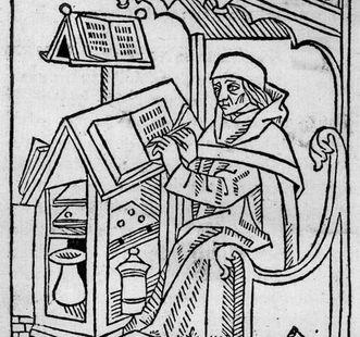Darstellung eines Skriptoriums, Jean Belot, Holzschnitt nach 1500; Foto: wikipedia_gemeinfrei