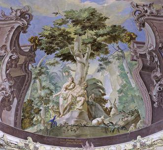 Der Sündenfall, Detail aus dem Deckenfresko, Franz Martin Kuen, 1744; Foto: Staatliche Schlösser und Gärten Baden-Württemberg, Steffen Hauswirth