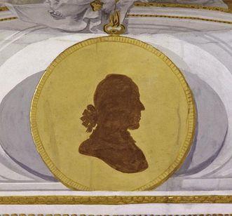 Eine Porträtsilhouette des Künstlers in der Klosterkirche