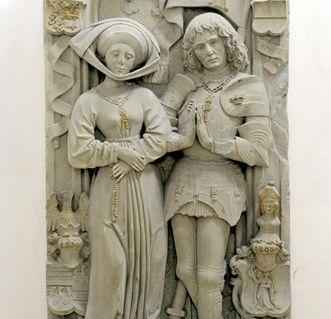 Sandsteinepitaph des Grafen Eberhard V. und seiner Frau Kunigunde in der Pfarrkirche St. Martinus