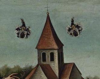 Klosterkirche mit Wappen, Detail aus einem Gemälde des späten 18. Jahrhunderts