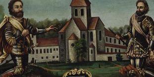 Klosteranlage mit Stiftern, Gemälde aus dem späten 18. Jahrhundert