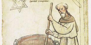 Älteste Darstellung eines Bierbrauers in Deutschland, Mönch mit sechszackigem Brauerstern, aus dem Hausbuch der Mendelschen Zwölfbrüderstiftung von 1425